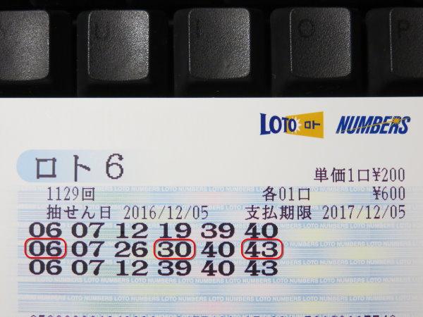第1129回 ロト6 5等当選!