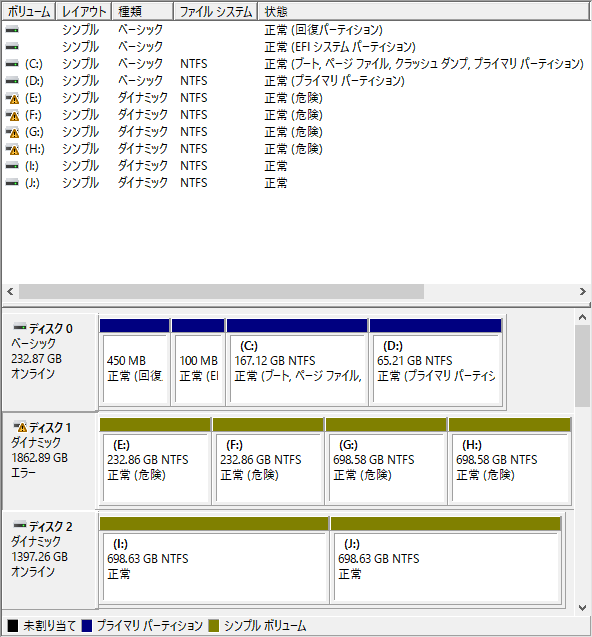 コンピューターの管理画面
