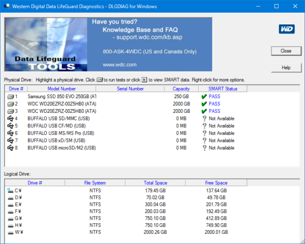 Windows用Data Lifeguard Diagnostic