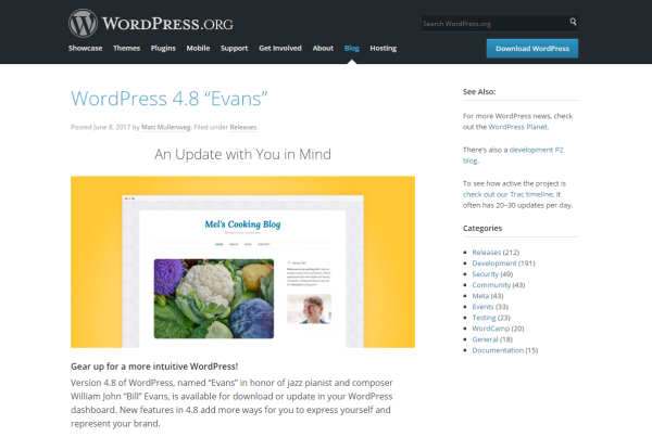 WordPress 4.8 に更新しました!