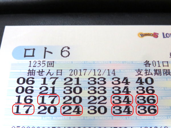 【ロト6】第1236回 4等1口&5等1口に当選しました!