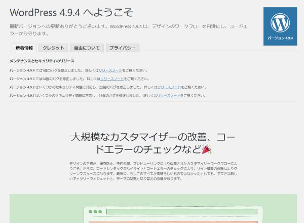 WordPress 4.9.4 に更新しました!